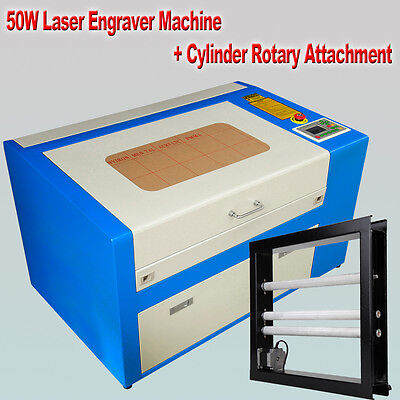 50W CO2 Laser Engraving Engraver Cutter Machine With Cylinder Rotary Attachment