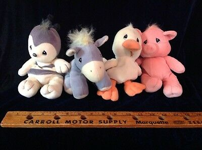 Lot Of 4 PRECIOUS MOMENTS Plush Stuffed Animals Tender Tails PIG DUCK BEE DONKEY