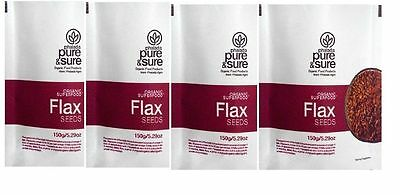 Pure & Sure Organic Flax Seeds Pack of 4 (4x150gm) free shipping