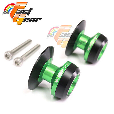 Green Twall Protector Swingarm Spools Sliders Fit Yamaha YZF R6 1999-2015