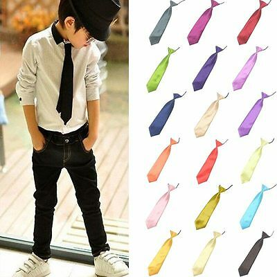 New Kids&Boys Simple Satin Solid Color Elastic Neck Tie Gift For School&Party