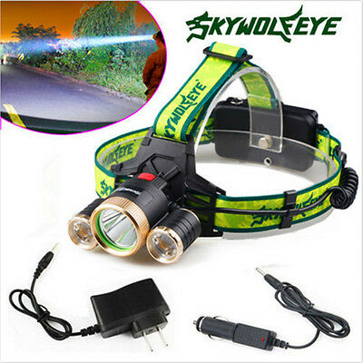 20000lm T6 + XPE 3 LED Zoom Headlamp Rechargeable Head Torch Lamp + 2 Charger