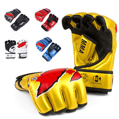 MMA UFC Sparring Grappling Boxing Gloves Fight Punch Mitts Leather Training