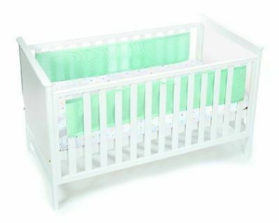 Breathable Baby 2 Sided wrap Cot Mesh Liner for cots safe baby  panels green
