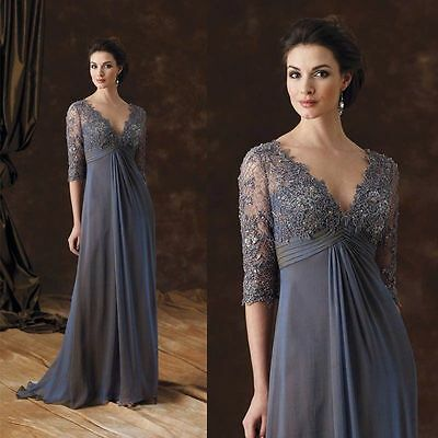 3/4 Sleeve Lace Applique Plus Size Mother Of The Bride Dress Gray Evening WD148