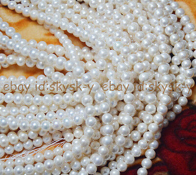 """AAA+ 8-9mm Natural White Genuine South Sea Pearls Round Loose Beads 15"""" strand"""