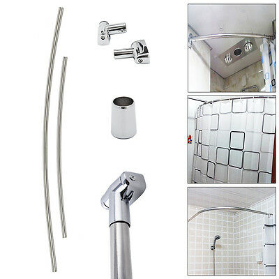 Extendable Curved Shower Curtain Rail Chrome 145-200cm Telescopic Bath Rod Pole
