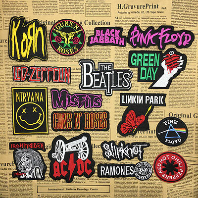 DIY Embroidered Metal Rock Punk Music Band Sew On Iron On Bags Patch Badge Gift