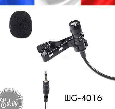 Micro Cravate Lapel Lavalier Microphone WG4016 1 mètre 3.5mm