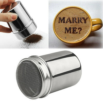 Stainless Steel Chocolate Shaker Cocoa Coffee Cinnamon Powder Duster Tank LU