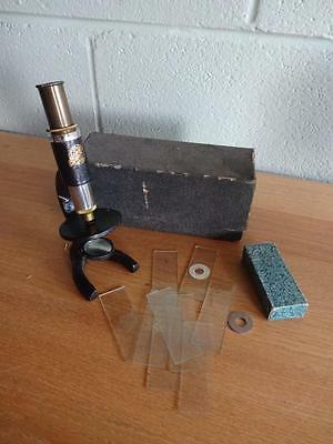 Vintage Earth Microscope With Some Glass Slides In Box