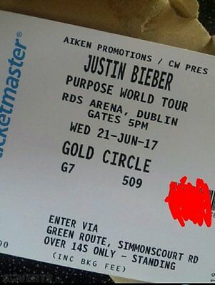 2x Justin Bieber SOLD OUT Golden Circle tickets, FACE VALUE