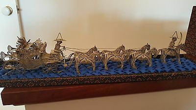 Silver Ornament - Carriage And Seven Horses