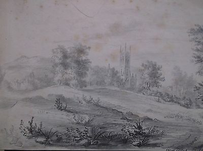 Antique Early 19Th Century Graphite Drawing 1843 A Rural Landscape View