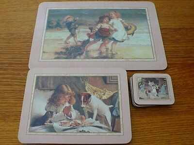 Vintage Children Cork Back Placemats 1 Large 6 Coaster And 6 Placemats