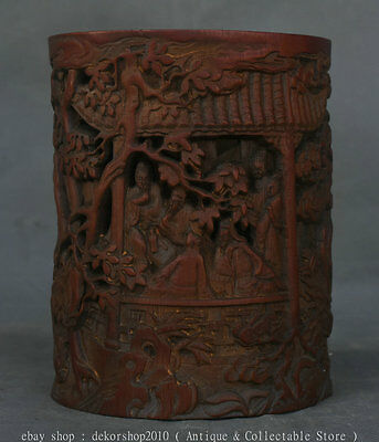 """6"""" Rare Old Chinese Bamboo Hand Carved Human Women Figure Brush Pot Pencil Vase"""
