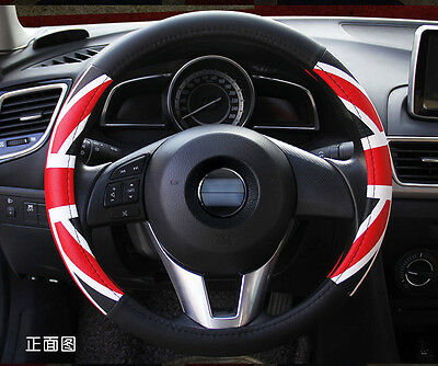 Car Truck Union Jack Steering Wheel Cover PU Auto Cool Universal Fit Size M BMW