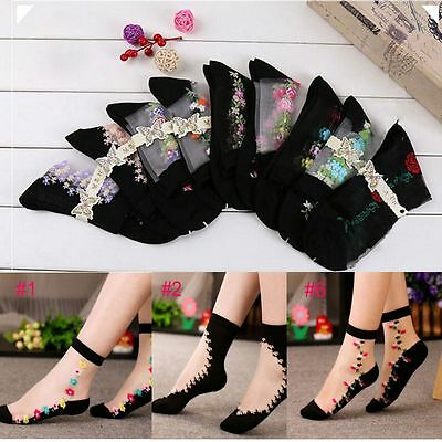 Transparent Women Short Lace Flower Glass Silk Socks Crystal Ankle