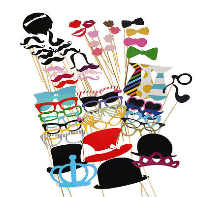 60x Funny Photo Booth Props On a Stick Mustache Mask Wedding Party Birthday Xmas