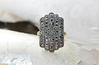 Rare Victorian Carved Black Jet Marcasite Silver On Brass Ring Sz 5.5