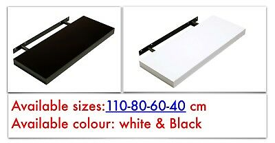 High Gloss Floating Wall Shelves White and Black multi sizes 110 , 80 , 60 40cm