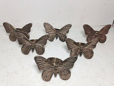 Vintage Set Of 6 Solid Brass Butterfly Napkin Rings Dining Tableware