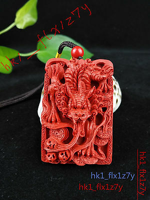 Chinese Natural Red Organic Cinnabar Dragon Necklace Pendant Lucky Amulet