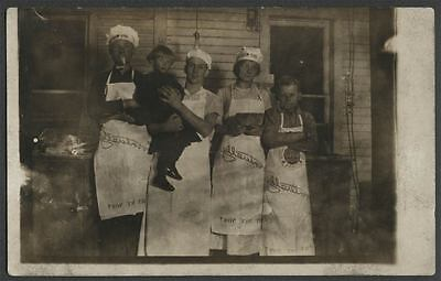 GOLD MEDAL FLOUR c.1910s Real Photo Postcard EVENTUALLY WHY NOT NOW? Aprons Hats