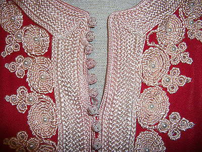 ladies vintage red embroidered oriental boho bohemian russian tunic blouse top