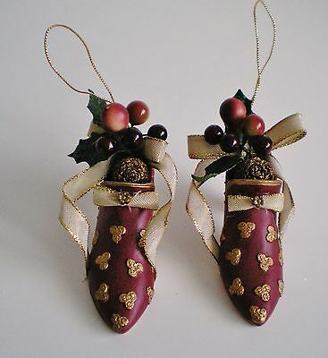 Lot Of 2 Victorian Shoe Ornaments Resin With Additional Decoration