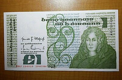 Central Bank Of Ireland £1 Pound Punt Banknote Queen Meab. Rare Date 1986 Unc