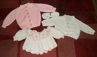 3 X Baby Girls Hand Knitted Cardigans And Mittens Various Ages Various Ages