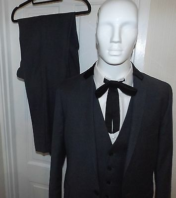 3 pc GREY SUIT  by MOSS - Teddy Boy Rockabilly Black Velvet Collar on Jacket 42""