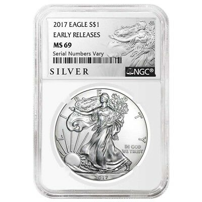 2017 1 oz Silver American Eagle $1 Coin NGC MS 69 Early Releases (Liberty Label)