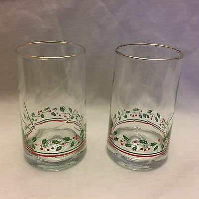 2 Vintage Arby's Libbey Water Glasses Gold Holly Berry Christmas Holiday 1983