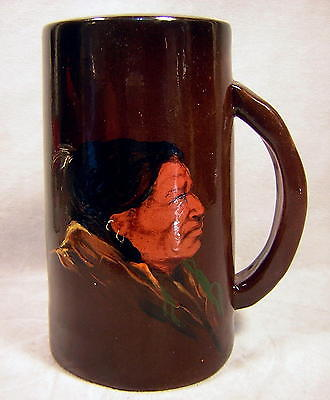 Antique Weller AMERICAN INDIAN Decorated Art Pottery Mug Louwelsa Dickens Ware