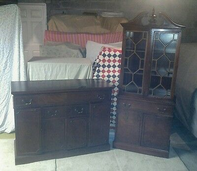 Antique Vintage 2Pc Dining Room Set Tall Hutch & Long Server Dark Stained Wood