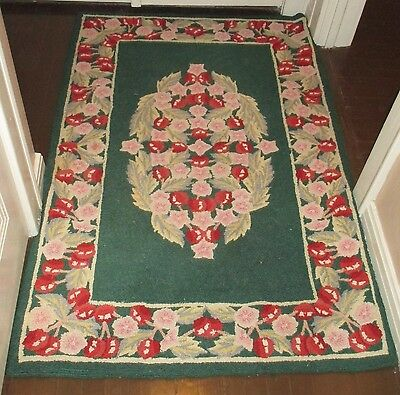 Antique Vintage Estate Find Woven Rug Floral Cherries Greens/pinks/reds 65X42