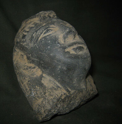 Unique Egyptian Hand Made King Seti II Bazalt Head Bust