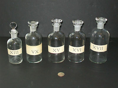 5 Vtg Antique Apothecary Jars Bottles Ground Glass Stoppers Medicine Bath Potion