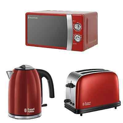 Russell Hobbs Manual Microwave Kettle, 2-Slice Toaster, Red Bundle Pack Set NEW