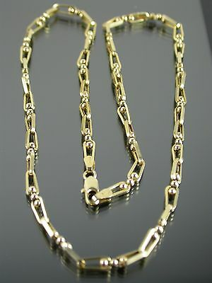 VINTAGE 9ct GOLD FANCY BATON & BALL LINK NECKLACE CHAIN 18 inch