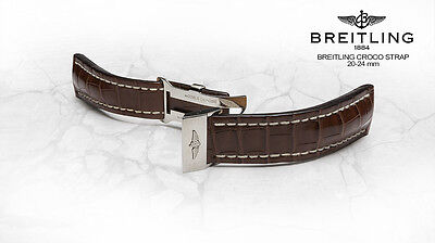 Breitling Croco Leather Strap + Folding Clasp (Stainless Steel)  20-24Mm