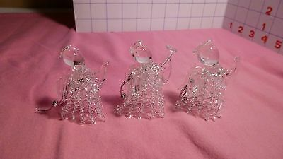 "set of 3 Spun Glass ""ANGEL"" Christmas Ornaments -  EUC"
