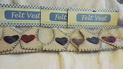 NIP Lot of 3 Felt Vests For Dolls/Bears Tan With Red/Blue Hearts