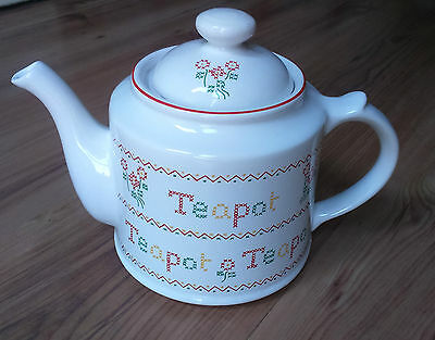 Vintage 1980s Wade 2pt China Teapot Cross Stitch Red Green Yellow VGC