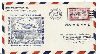 1940 US FFC FAM 19 - San Francisco to Auckland NZ - Golden Gate Expo Cancel*