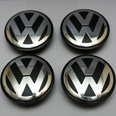 Volkswagen Alloy Wheel Centre Caps x4 65mm Golf Series Passat Scirocco Bora VW