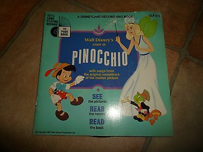 "1967 Vintage Childrens Book & 7"" Single Record Walt Disneys STORY OF PINOCCHIO"