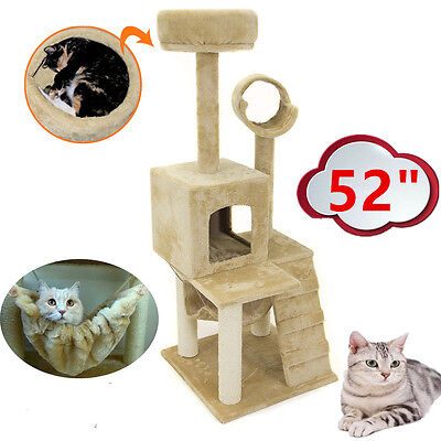 "52"" Cat Tree Tower Condo Furniture Scratch Post Kitty Pet House Play Paws Beige"